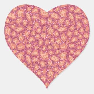 Pink Glitter Cheetah Print Heart Sticker