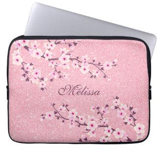 Pink Glitter Cherry Blossom Monogram Laptop Sleeve