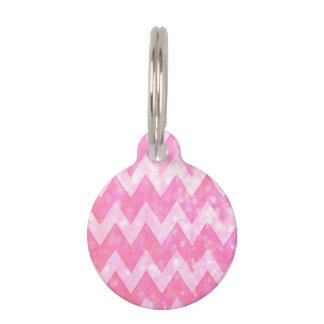 Pink Glitter Chevron Pattern Pet ID Tag