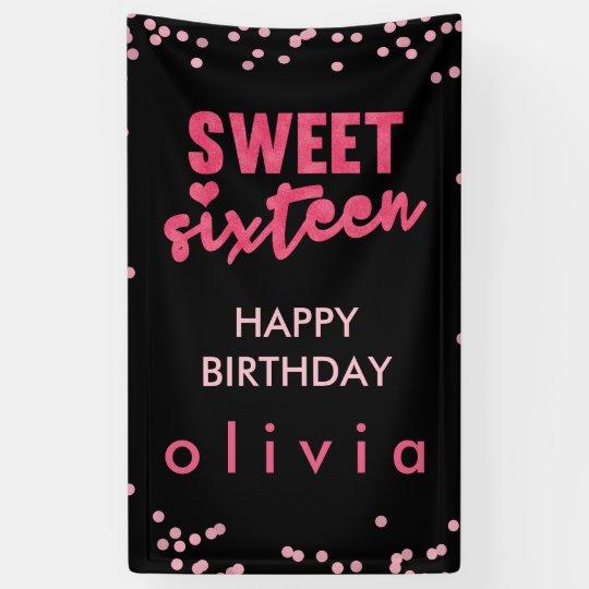 Pink Glitter Confetti Sweet Sixteen Banner