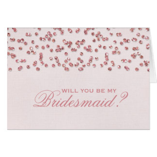 Pink Glitter Confetti Will You Be My Bridesmaid? Card