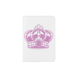 Pink Glitter Crown Custom Passport Holder