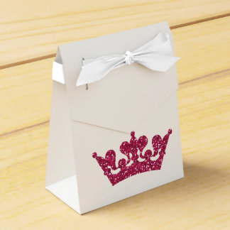 Pink Glitter Crown Princess Royal Party Boxes