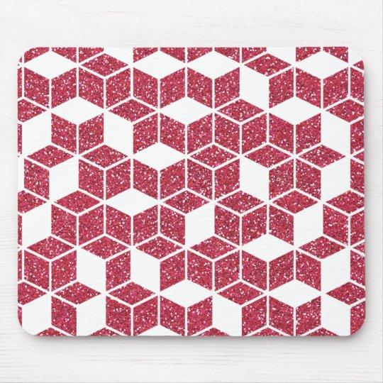 Pink Glitter Cube Pattern Mousepad