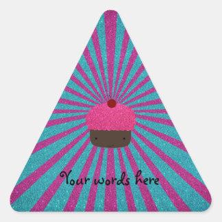 Pink glitter cupcake glitter sunburst triangle sticker