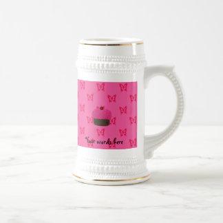 Pink glitter cupcake pink butterflies mug