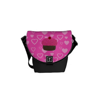 Pink glitter cupcake pink hearts courier bags