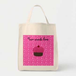 Pink glitter cupcake pink hearts grocery tote bag