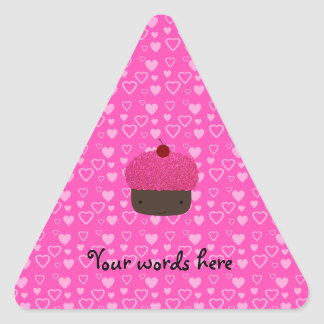 Pink glitter cupcake pink hearts stickers