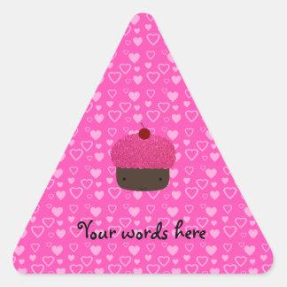 Pink glitter cupcake pink hearts stickers