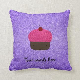 Pink glitter cupcake purple glitter cushion