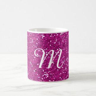 Pink Glitter Custom Monogrammed Basic White Mug