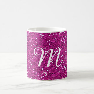 Pink Glitter Custom Monogrammed Coffee Mug