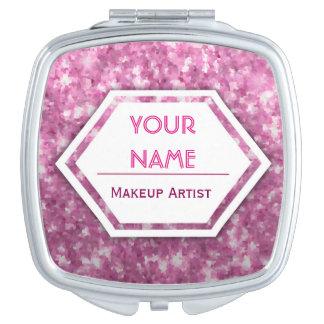 Pink Glitter Customizable Mirror For Makeup
