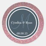 Pink Glitter & Dark Blue Gray Wedding Monogram Round Stickers
