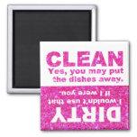 Pink Glitter Dishwasher Fridge Magnet