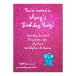 Pink glitter elephant birthday invitation
