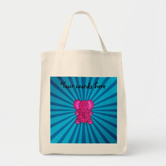 Pink glitter elephant blue sunburst tote bag