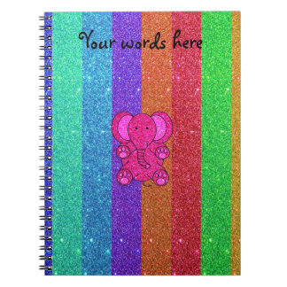 Pink glitter elephant with rainbow stripes notebook