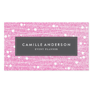 Pink Glitter Event Planner Business Card Template