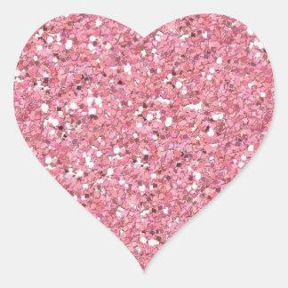 Pink Glitter (Faux) Heart Sticker