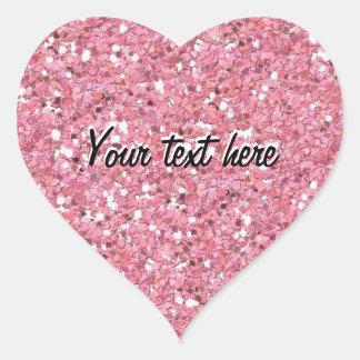 Pink Glitter (Faux) Personalized Heart Sticker