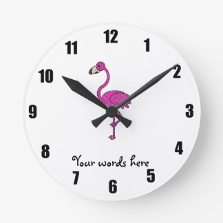Pink glitter flamingo clock