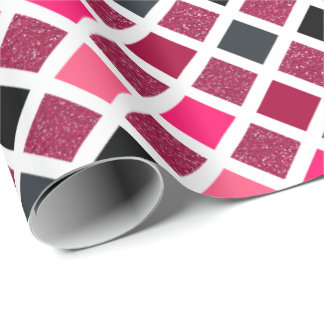 Pink Glitter Geometric Pattern Wrapping Paper