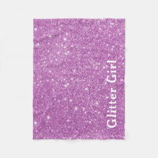 Pink Glitter Girl Show Your Glamours Sparkle Fleece Blanket