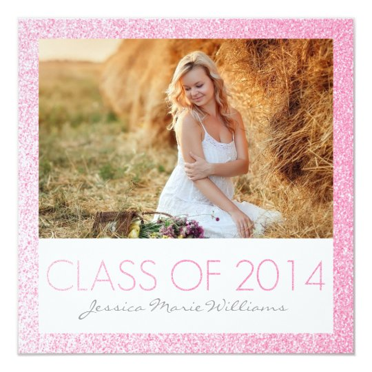 Pink Glitter Graduation Party Invitations