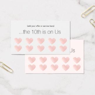 Pink Glitter Heart 10 Punch Salon Customer Loyalty Business Card