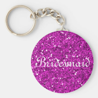 Pink Glitter Heart Personalized Bridesmaid Key Ring