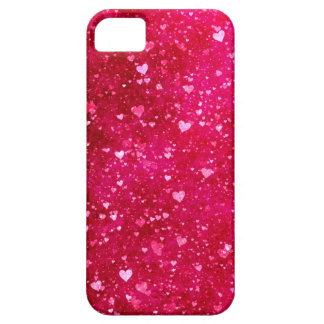 Pink Glitter Hearts Pattern iPhone 5 Cases
