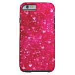 Pink Glitter Hearts Pattern Tough iPhone 6 Case