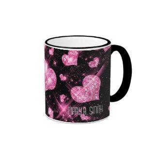 Pink Glitter Hearts Ringer Coffee Mug