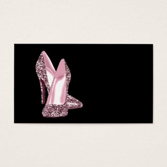 Pink Glitter High Heel Shoe Business Card Template