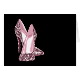 Pink Glitter High Heel Shoe Thank You Cards