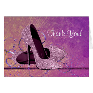 Pink Glitter HIgh Heel Shoe Thank You Note Card