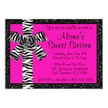 Pink Glitter Invite With Zebra Print Bow