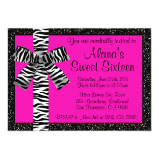 Pink Glitter Invite With Zebra Print Bow