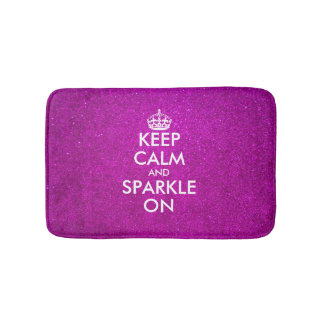 Pink glitter keep calm and sparkle on bath mat bath mats
