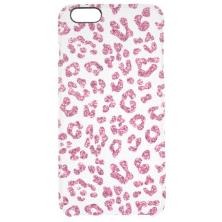 Pink Glitter Leopard Print Clear Clear iPhone 6 Plus Case