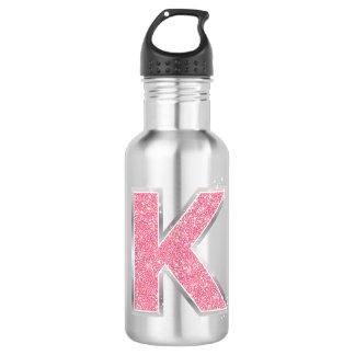 Pink Glitter letter K 532 Ml Water Bottle