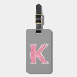 Pink Glitter letter K Luggage Tag