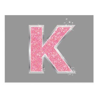 Pink Glitter letter K Postcard