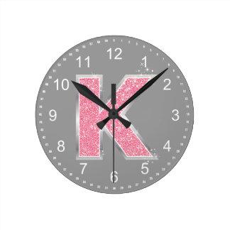 Pink Glitter letter K Round Clock