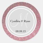 Pink Glitter & Light Silver Wedding Monogram Seal Round Sticker