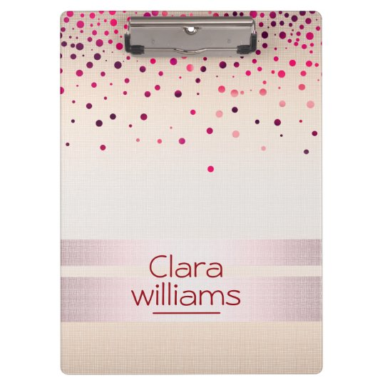 Pink Glitter Linen Sparkle Confetti Modern Clipboard