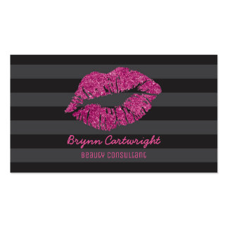 Pink Glitter Lips Makeup Beauty Consultant Glamour Pack Of Standard Business Cards