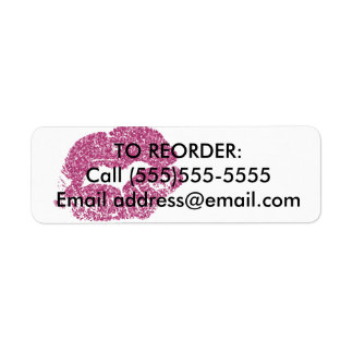 Pink Glitter Lips Reorder Label